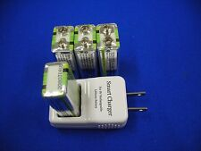 9v Smart Charger with 4 of Hitech #1 Lion720mAh*Rechargeable*Tech-USA/Taiwan*UL