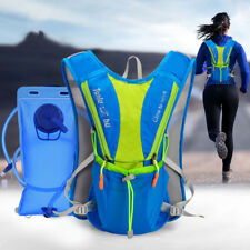 12L Trail Marathoner Running Race Hydration Hiking Vest Backpack+waterbag Blue