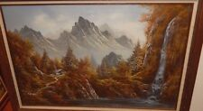 R.BOREN LARGE OIL ON CANVAS MOUNTAIN CABIN WATERFALL PAINTING