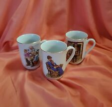 Lot Of 3 Beautiful Norman Rockwell Museum Porcelain Mugs, In Great Condition!