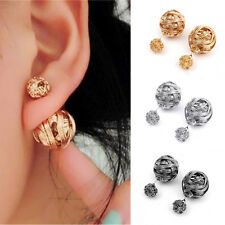 2 Pairs Women Double Sides Pearl Earring Two Ball Stud Earring Piercing New FG