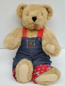 """Vintage 1992 Vermont Teddy Bear Jointed 18"""" Tan w/ Denim and Cow Print Overalls"""