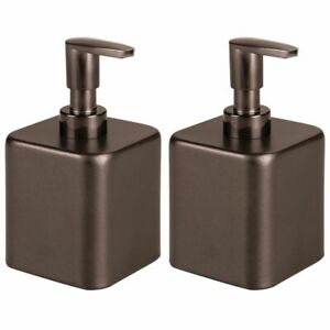 mDesign Compact Square Metal Refillable Soap Dispenser Pump, 2 Pack - Bronze