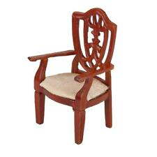 Dollhouse Miniature Furniture Classic Wooden Chair Coffee Color 1:12 Scale