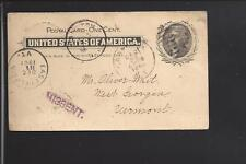 """GRANVILLE,NEW YORK 1901 GOVERNMENT POSTAL CARD, AUXILLARY """"MISSENT""""."""