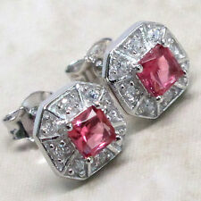 EXQUISITE PRINCESS CUT RUBY 925 STERLING SILVER STUD EARRINGS