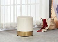 Dolce Cream Velour Velvet Ottoman Footstool with Chrome Surround Stool Seat