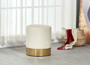 Dolce Cream Velour Velvet Ottoman Footstool with Chrome Surround Stool Seat