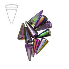 Czech glass spike bead crystal magic violet 7x17mm pack de 10 (M41/1)