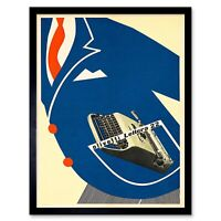 Olivetti Typewriter Advert 1953 12X16 Inch Framed Art Print