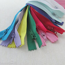 "50 x bulk pack  No.3 nylon autolock closed end zips - 6"", 8"" & 10"" colour choice"