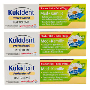 Kukident Professionell Haftcreme 3 x 40g Med + Kamille - Extra Pflege