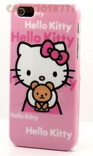 for iPhone 5 5S case cover pink w/ teddy bear cute kitten kitty + film