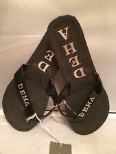 Beautiful! Deha Flat Open Toe Thong Straps Black Flip Flops Size 39EU 9US Italy