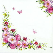 4x Paper Napkins for Decoupage Decopatch Craft - Cute Flowers