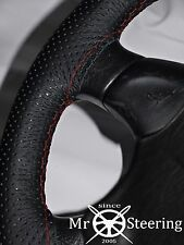 FOR AUDI 80 CABRIO PERFORATED LEATHER STEERING WHEEL COVER DARK RED DOUBLE STICH