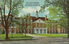 OLD VINTAGE ILLINI UNION BUILDING AT THE UNIVERSITY OF ILLINOIS LINEN POSTCARD
