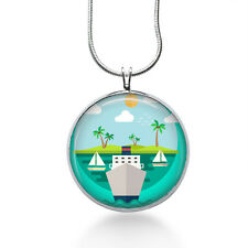 crusie ship Necklace, Vintage Cabochont Pendant,Fashion Jewelry,Gifts