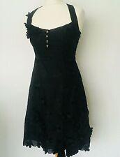 Karen Millen Vestido Talla Reino Unido 10 Negro | Floral Bordado Encaje Fiesta Lápiz Inteligente