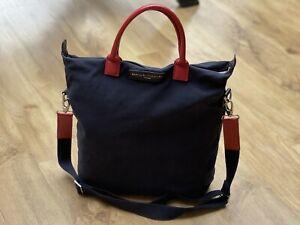 Want Les Essentiels De La Vie O'hare SHOPPER Tote Canvas Leather Bag Navy Blue