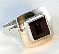 Vintage Artisan Handmade Channel-Cut Square Red Garnet & .925 Silver Ring Size 7