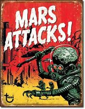 Mars Attack Classic Alien Movie B List Weathered Retro Decor Metal Tin Sign New