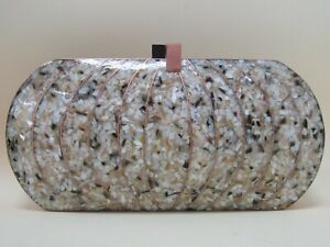 Emm Kuo Women's Rose Gold Tone Mother of Pearl Fleck Resin Clutch