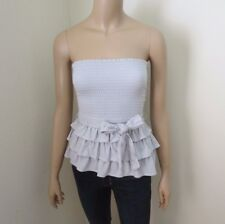 NWT Gilly Hicks by Abercrombie Strapless Tube Top Size XS Gray Eyelet Belt