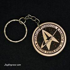 Star Trek Starfleet Command Hand Made Engraved Wood Trekkie Keyring Keychain