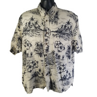 Big Dogs Mens Hawaiian Shirt White Gray Dog Sleeping Islands Floral - L