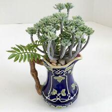 Decorative Ceramic Blue Pitcher with Green Leaves and Vine Handle with Green Gra