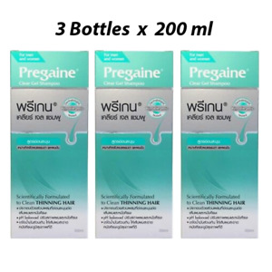 3x 200ml Pregaine Clear Gel Shampoo Apply With Normal/Oily Hair Prevent HairLoss