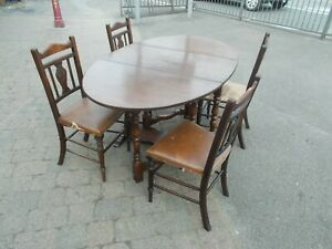 Oval Drop Leaf Gate Leg Table & 4 Chairs ----  Buyer to collect