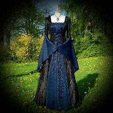 New Black/Blue Gothic Medieval Velvet & Satin Gown Robe Dress size 5XL 20 22 24