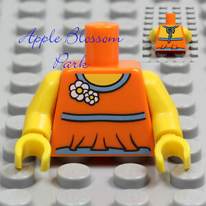 NEW Lego Female Minifig Blue & ORANGE TORSO - Girl Flower Halter Top Shirt Upper