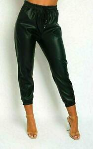 New Women Wet Look PU PVC Drawstring Faux Leather Look Trouser Ladies Joggers