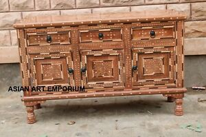 Indian Teak Sideboard with Bone Inlay / Solid wood chest of Drawers Bone Inlay
