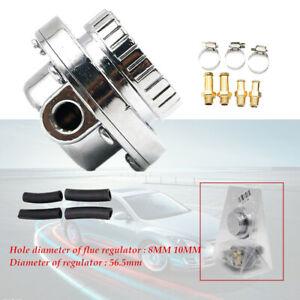 Silver Car Adjustable 1-5 PSI Fuel Pump Pressure Regulator 8mm 10mm Hose Durable