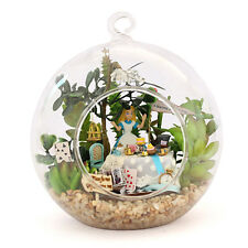 Dollhouse miniature in  Glass Ball w/ led light, (B-011)- Alice Forest tea time