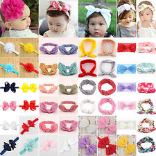 Newborn Headband Girls Kids Bunny Rabbit Bow Knot Turban Hair Band Headwrap Baby