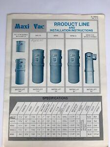 Vintage Maxi Vac Built-In Home Vacuum Advertisement Brochure Instructions