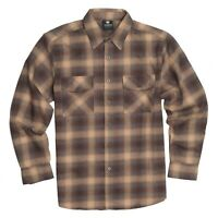 YAGO Men's Casual Plaid Flannel Long Sleeve Button Down Shirt Tan/AB21 (S-5XL)