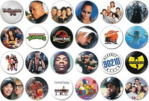 24 x 1990s 32mm BUTTON PIN BADGES Retro Classic 90s Vintage Movies Music Party