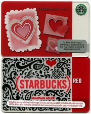 2 NEW 2010 - NEVER USED Valentine's Day & Red Alder Global Fund Starbucks Cards