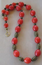 Ethnic Design Necklace/Antique African Red Glass Melon and Brass Trade Beads