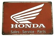 New Honda Motorcycles Tin Metal Sign Rustic Vintage Sales Service Parts Biker