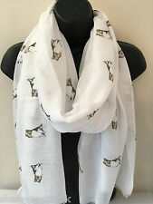 Ladies Women Collie Print Dog WHITE Scarf Shawl 100% Cotton With Frayed Edges