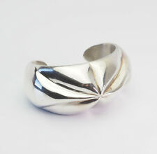 silver cuff bracelet Taxco Mexico Fun vintage chunky modernist sterling