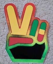 RASTA Bob Marley Reggae 5 Inch by 4 Inch Sticker / Decal Peace Sign Hand Die Cut