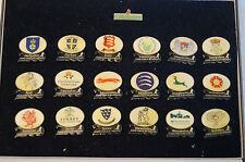 Cricket - Collectable -County - In The Millenium - Set of 18 Badges. Plush Case.